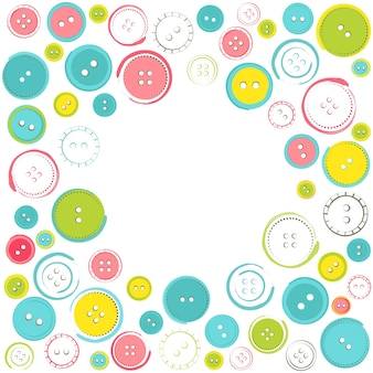Decorative frame with circle of buttons over white. vector illustration