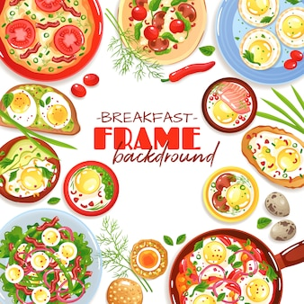 Decorative frame with colorful egg dishes for breakfast top view on white flat illustration