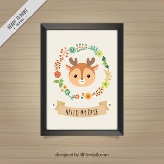 子鹿と花の花輪を持つ装飾的なフレーム