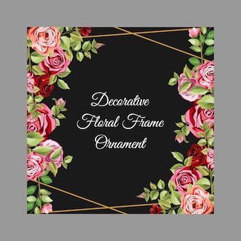 Decorative frame with floral and leaves ornament