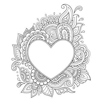 一時的な刺青スタイルのハートの形で花柄の装飾的なフレーム。