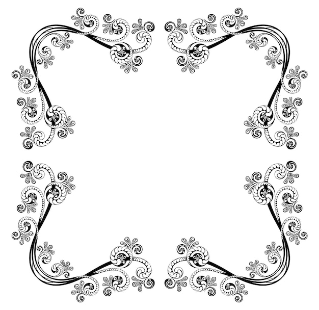Decorative frame with floral pattern template for greeting cards awards and wedding invitations