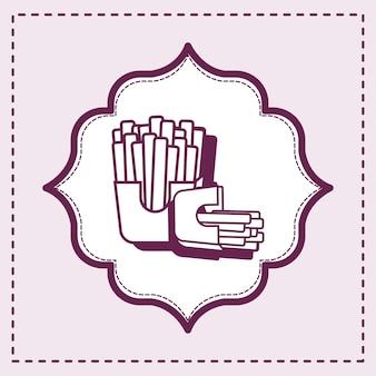 Декоративная рамка с французским картофелем фри по фиолетовому фону