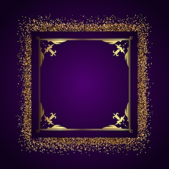 Decorative frame with golden glitter