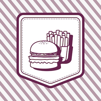 Decorative frame with hamburger and french fries icon over striped purple background