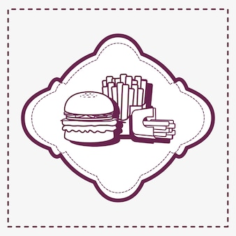 Decorative frame with hamburger and french fries icon over white background