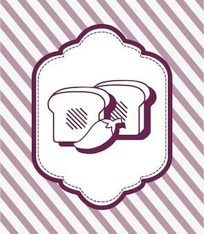 紫色の背景の上にスライスとチリのアイコンが付いている装飾フレーム