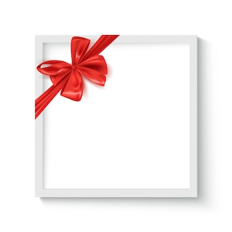 Decorative frame with realistic red ribbon bow