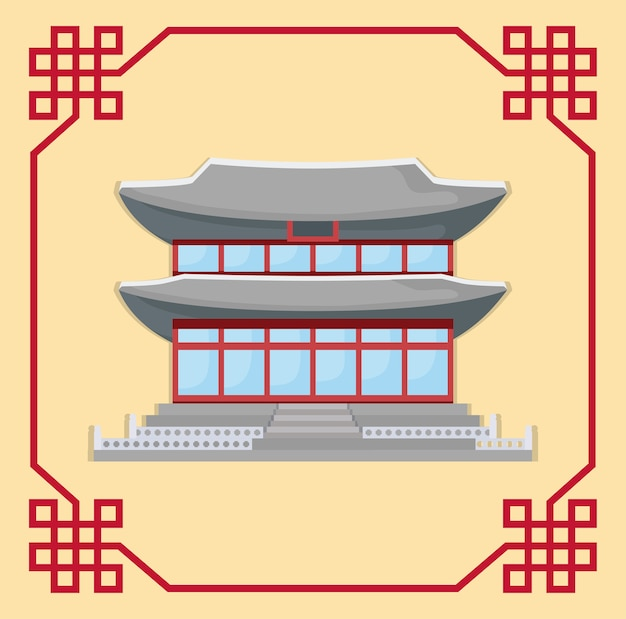Decorative frame with south korea traditional building icon