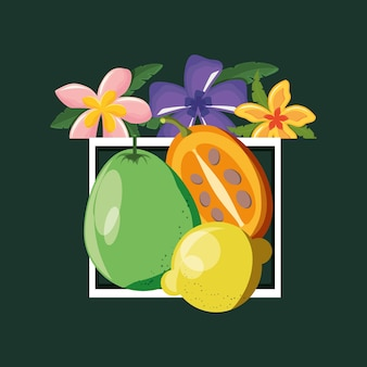 Decorative frame with tropical flowers and citric fruits