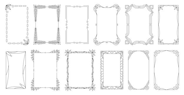 Декоративные рамки и бордюры стандартные прямоугольные пропорции фона. набор старинных элементов дизайна. изысканная рамка каллиграфии.