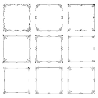 Decorative frames and borders abstract rectangle proportions set.