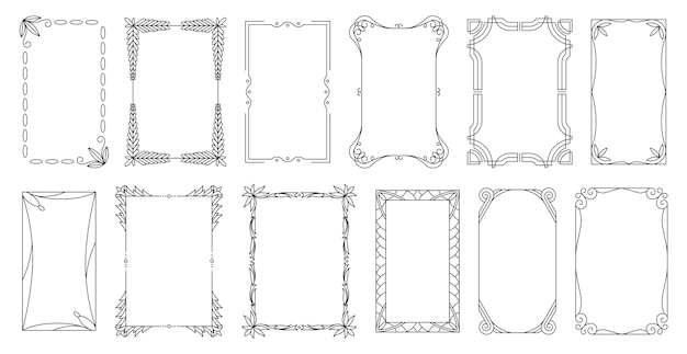 Decorative frames and borders standard rectangle proportions backgrounds. vintage design elements set. ornate calligraph frame.