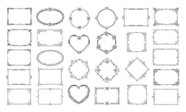 Декоративные рамки. элегантное цветочное сердце, круговые орнаменты. каллиграфический богато украшенный сертификат, оформление книги.