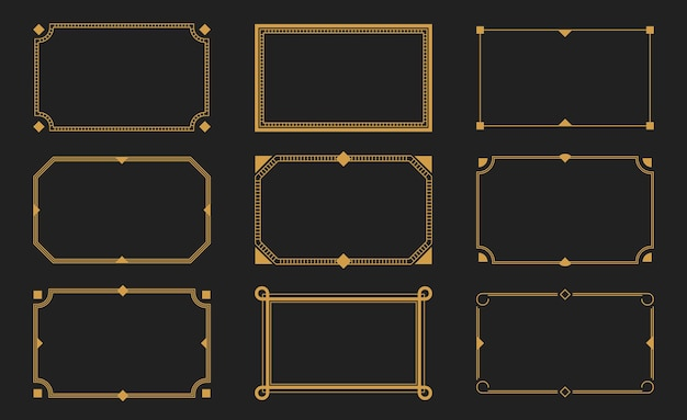 Decorative frames. retro ornamental frame, vintage rectangle ornaments and ornate border. decorative wedding frames, antique museum picture borders or deco devider.