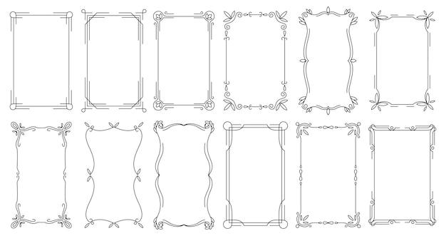 Декоративные рамки. старинные каллиграфические античные границы.