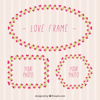Decorative frames with little hearts
