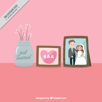 Decorative frames with wedding picture Free Vector