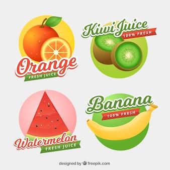 Decorative fruit juice labels in realistic design