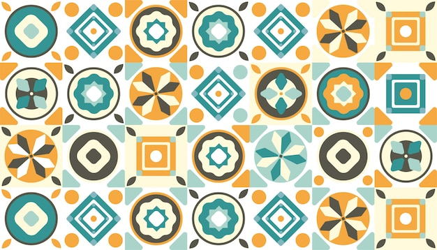 Decorative geometric tiles pattern