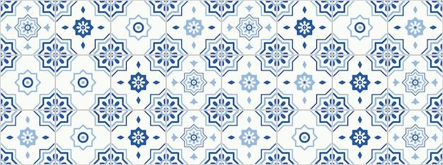 Decorative geometric tiles seamless pattern