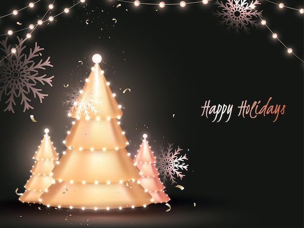Декоративные глянцевые рождественские елки со снежинками и осветительной гирляндой, украшенные на черном фоне.