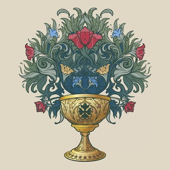 Decorative goblet. medieval gothic style concept art. design element. black a nd white drawing isolated on grey background.