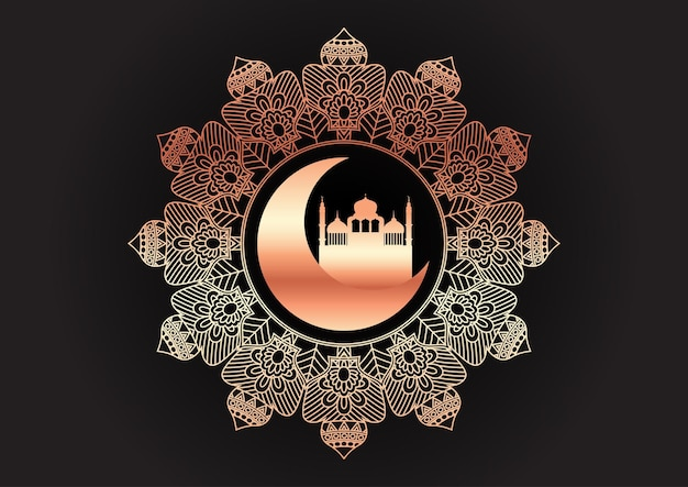장식 금색과 검은 색 아랍어 배경