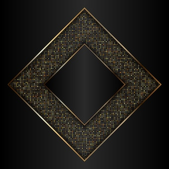 Decorative gold and black background with metallic gold frame