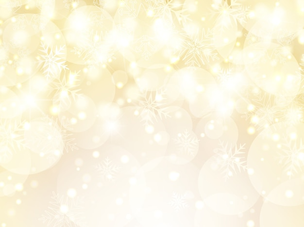 Decorative gold christmas background of snowflakes and stars