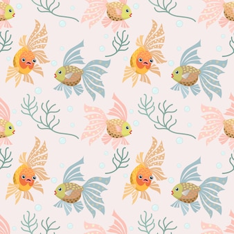 Decorative gold fish seamless pattern.