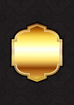 Decorative gold frame on a damask background