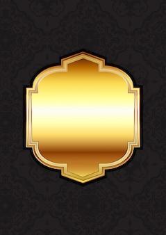 ダマスク織の背景に装飾的なゴールドフレーム