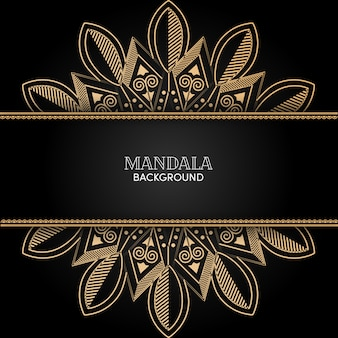 Decorative gold mandala ornament vector with black background