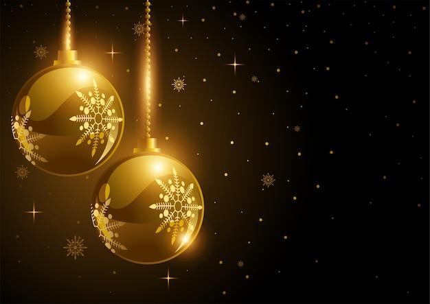 クリスマスのテーマと背景の装飾的な金色のボール