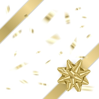 白い背景の上の装飾的な金色の弓クリスマスと新年の休日の装飾