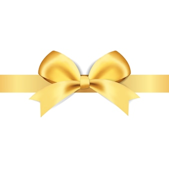 Decorative golden bows with yellow ribbon  illustration