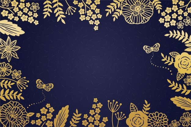 Decorative golden floral frame on dark blue background