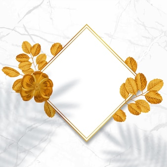 Decorative golden frame. floral wreath with gold leaves.