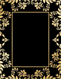 Decorative golden frame with abstract luxury waves and curls