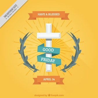 Decorative good friday background with cross and floral detail
