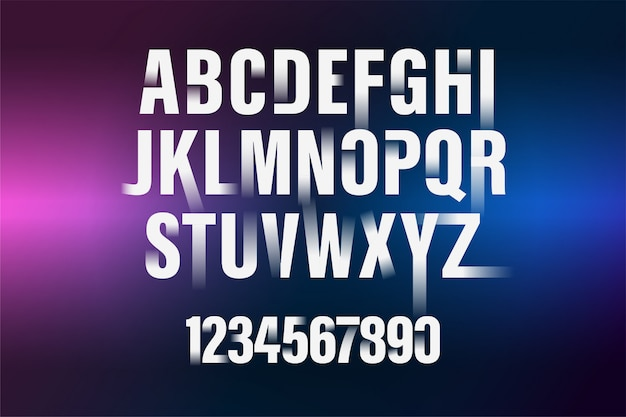 Decorative gradient white alphabet and numbers font. modern typography. condensed and bold.
