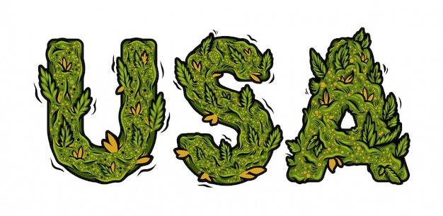 Decorative green marijuana font with inscription