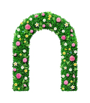 Decorative green wedding arch made of flowers. garden architecture. entrance to the park or gate