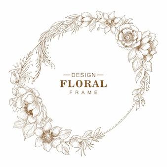 Decorative greeting card floral frame sketch background