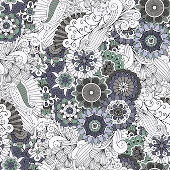 Decorative grey floral ornamental pattern