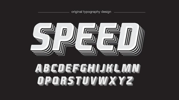 Decorative grey vintage stroke effect typography