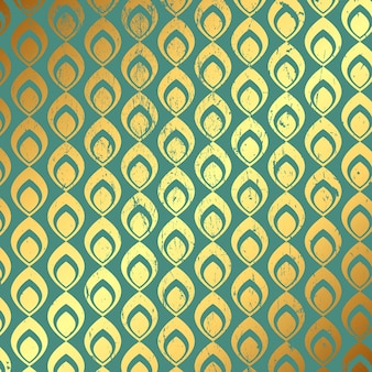 Decorative grunge background with gold and teal pattern
