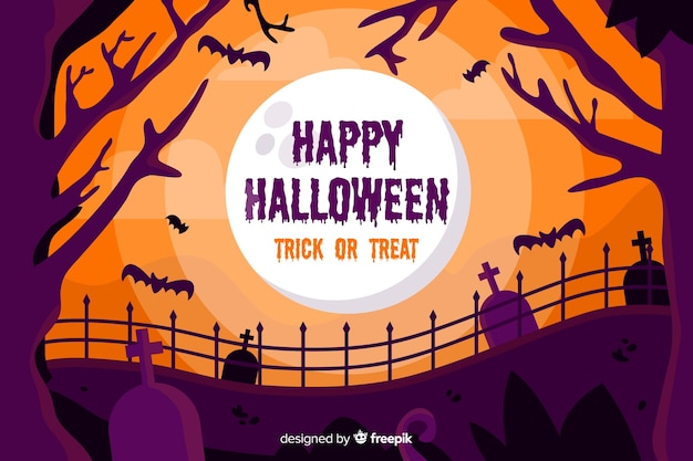 Decorative halloween background flat design