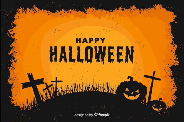 Decorative halloween background flat style
